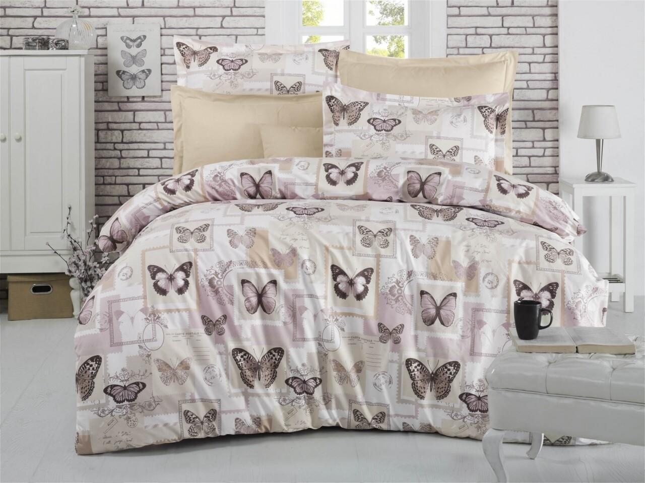 Lenjerie de pat pentru doua persoane, Poste Bedora, 100%  bumbac, 6 piese