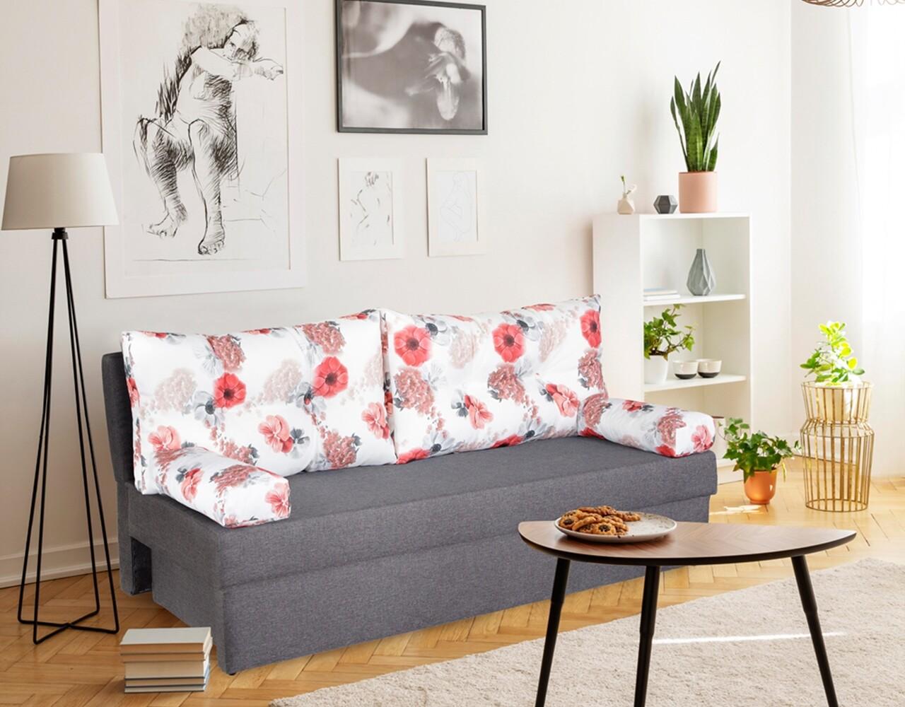 Canapea extensibila Alfi Grey Roses Flower 192 x 80 x 77 cm + lada de depozitare