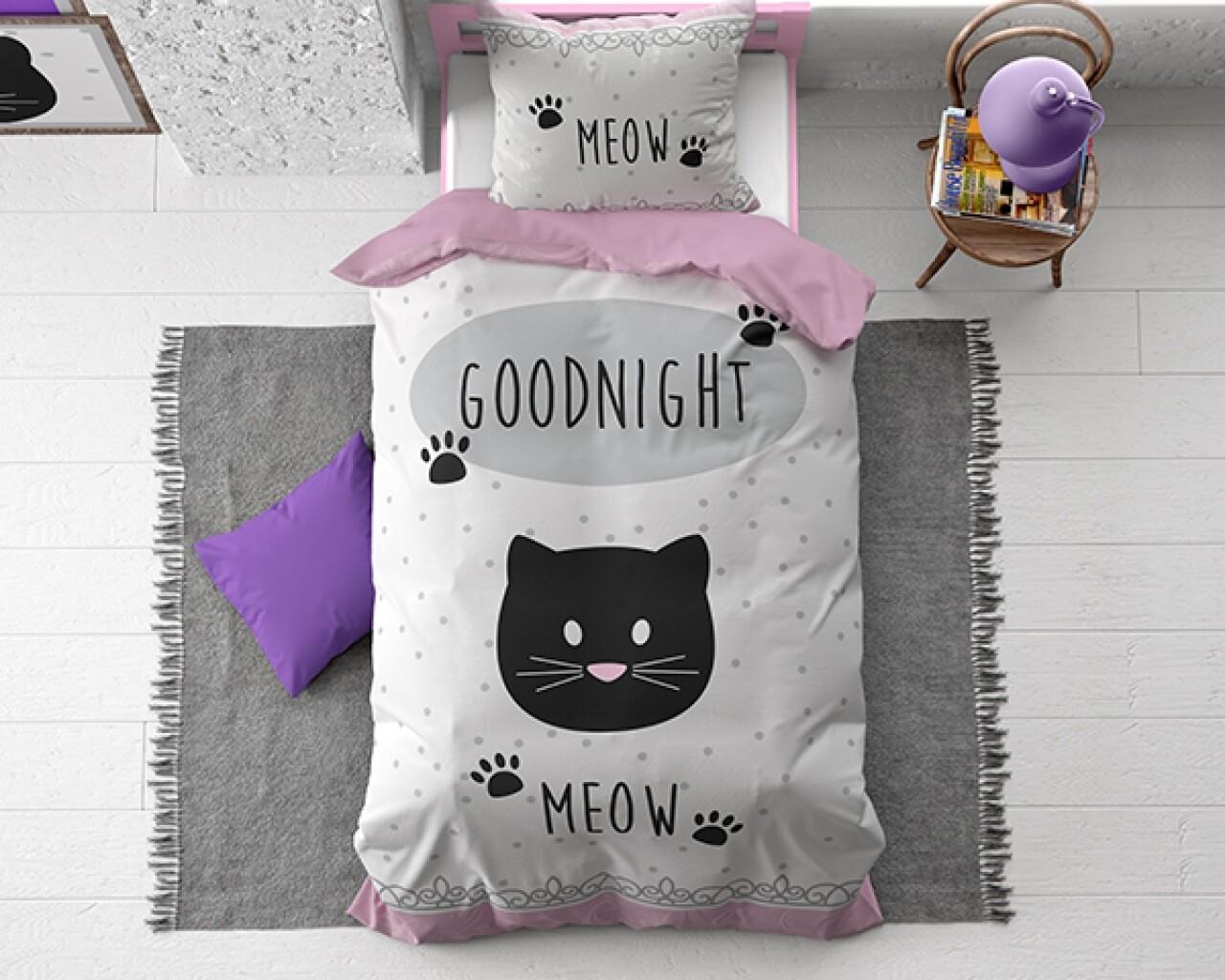 Lenjerie de pat pentru o persoana, Goodnight Kitty Pink, Royal Textile, 100% bumbac