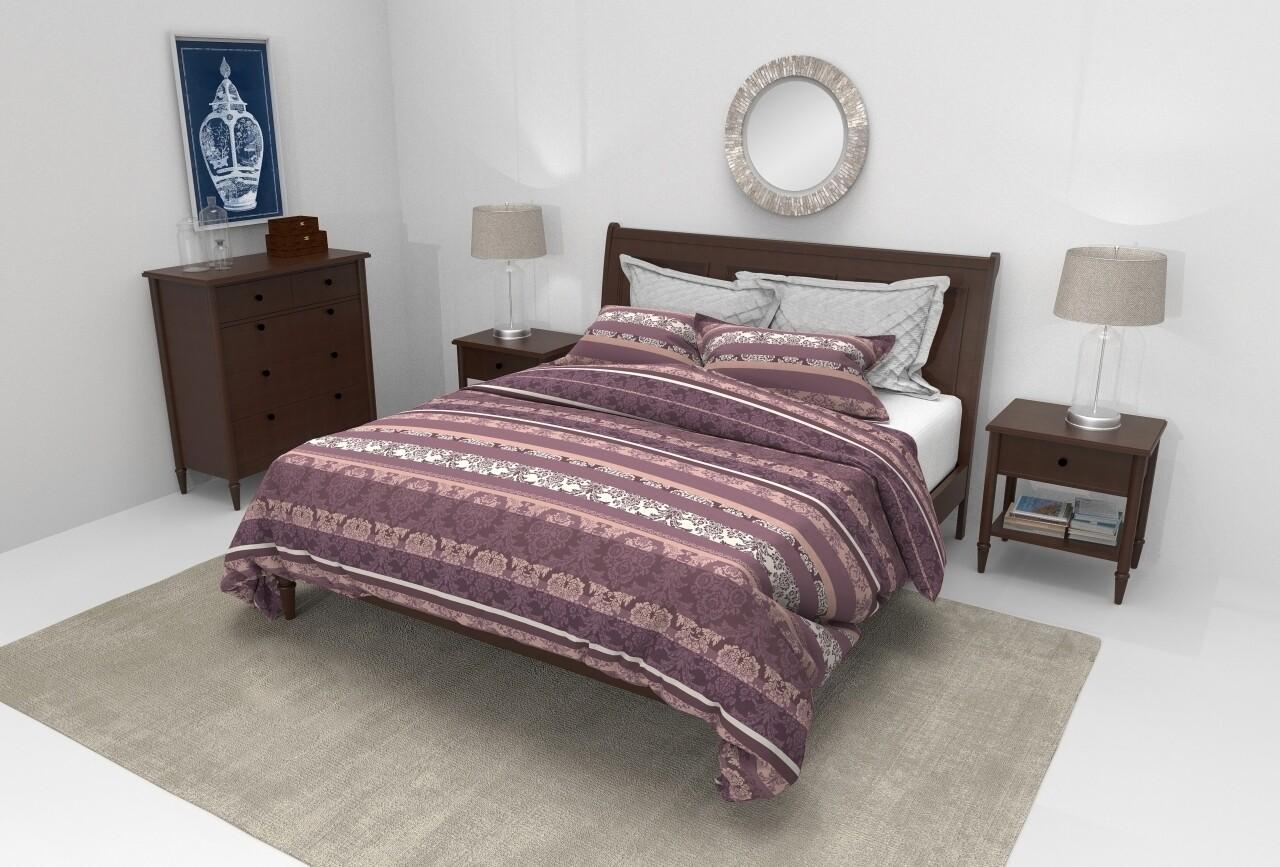 Lenjerie de pat pentru doua persoane, Empereur Lilas  Bedora, 100%  bumbac, 6 piese