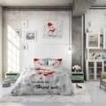 Lenjerie de pat dubla Heart melt White, Dreamhouse, 3 piese, 100% bumbac