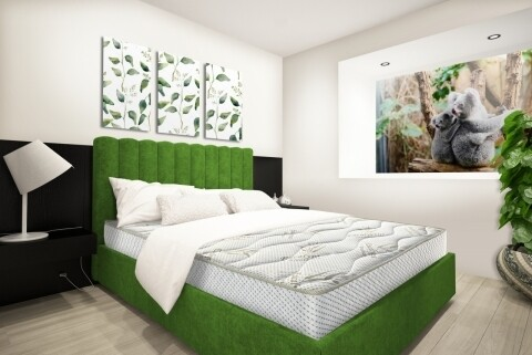 Saltea Eucalyptus Therapy Green Future, Memory, Husa cu uleiuri esentiale de Eucalypt, Super Ortopedica, 160x200 cm