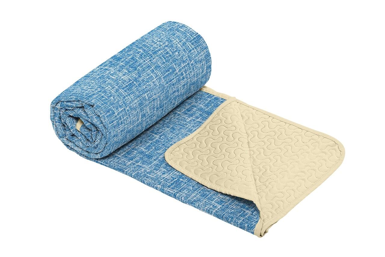 Cuvertura matlasata cu 2 fete Alcam, microfibra, 210x220 cm, Bleu Jeans
