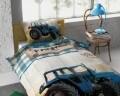 Lenjerie de pat pentru o persoana, Tractor Life Blue, Dreamhouse, 2 piese, 100% bumbac