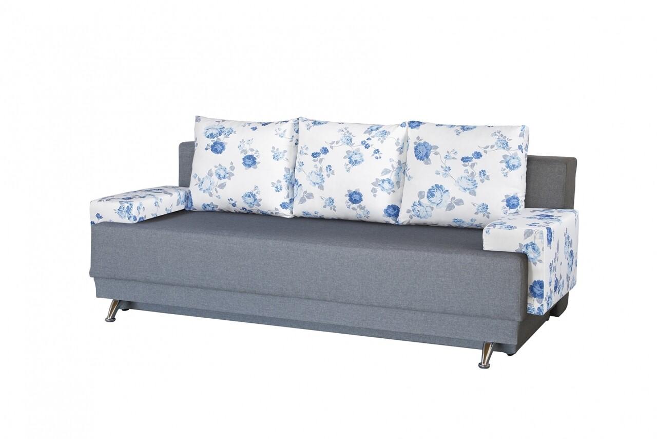 Canapea Extensibila Roma Grey Blue Anemone 205x90x86 cm + lada de depozitare