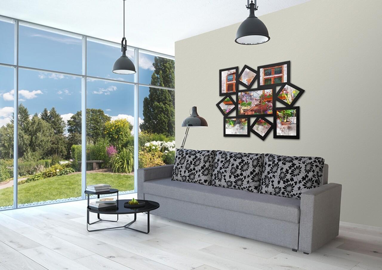Canapea Extensibila Firenze Grey Black Flower 218x85x85 cm + lada de depozitare