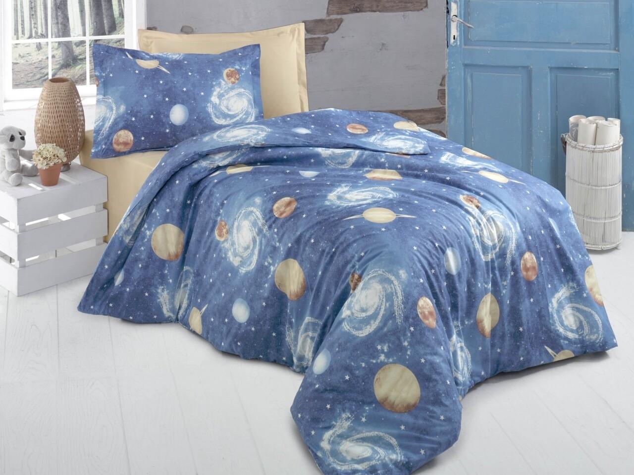 Lenjerie de pat pentru doua persoane, Galaxie Bedora, 100%  bumbac, 6 piese