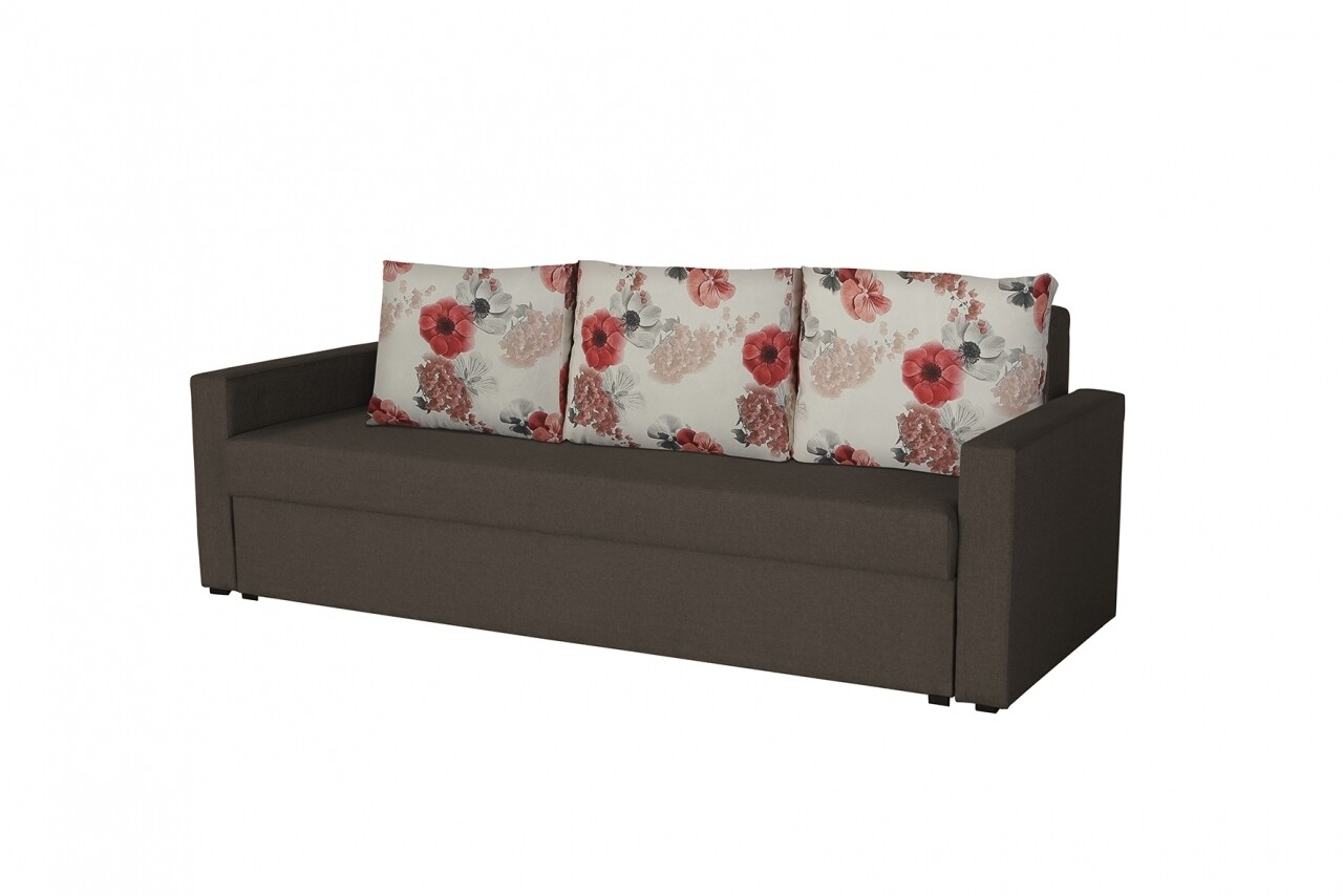 Canapea extensibila Firenze Dark Chocolate Roses Flower 218x85x85 cm, cu lada de depozitare