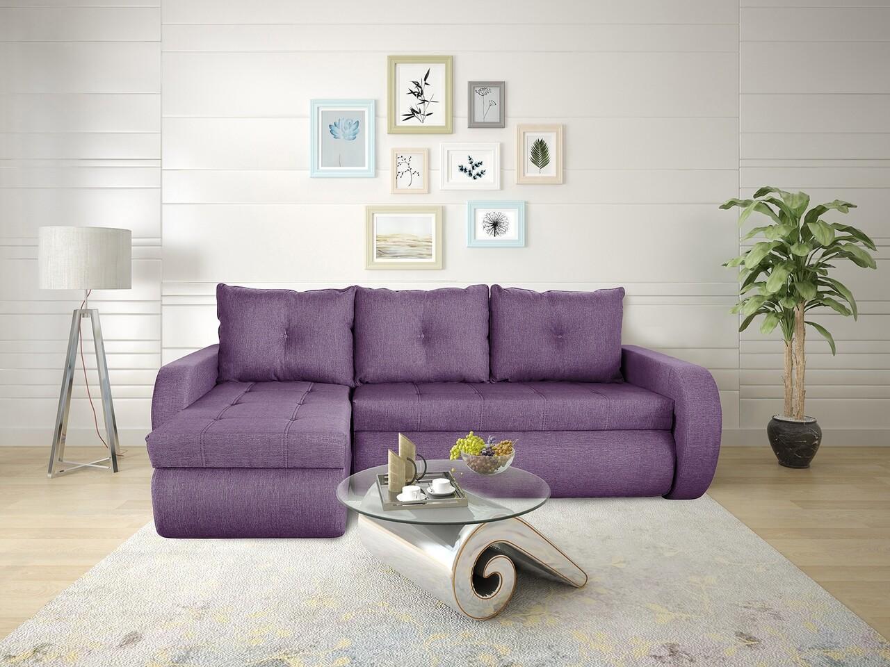Coltar extensibil Genoa Lux Purple 243x141x81 cm cu lada de depozitare, Reversibil