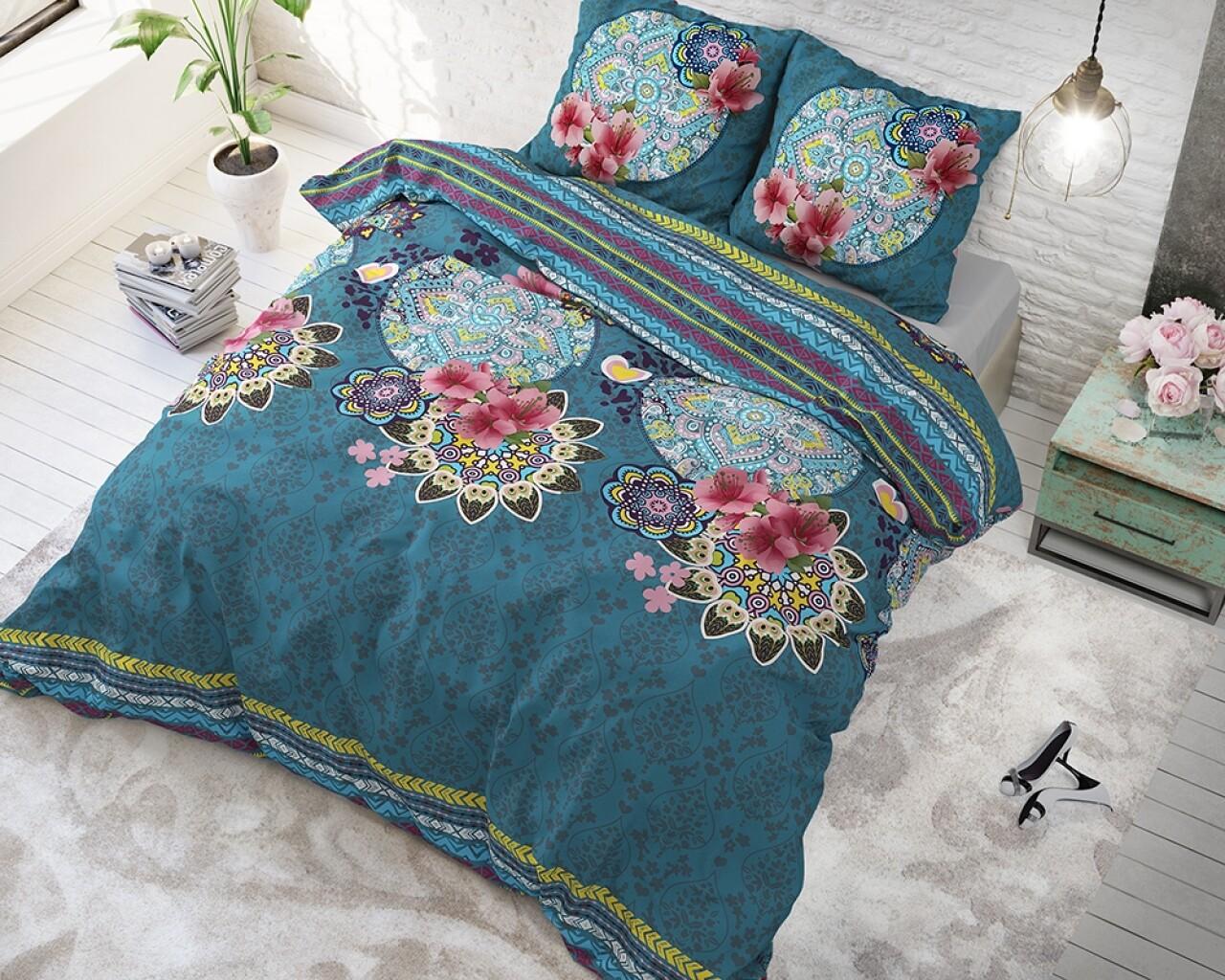 Lenjerie de pat pentru doua persoane Lana Turquoise, Sleeptime, Cotton Blended