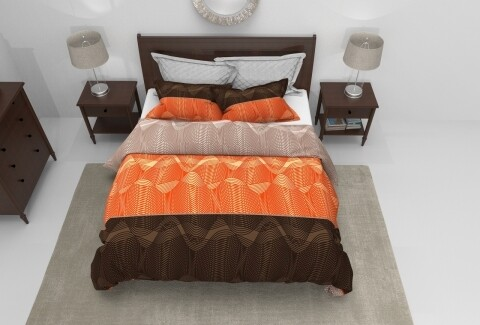 Lenjerie de pat pentru doua persoane, Brun  Bedora, 100%  bumbac, 6 piese