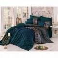 <br />Lenjerie de pat pentru doua persoane, Alisa, 100% bumbac satinat, 6 piese