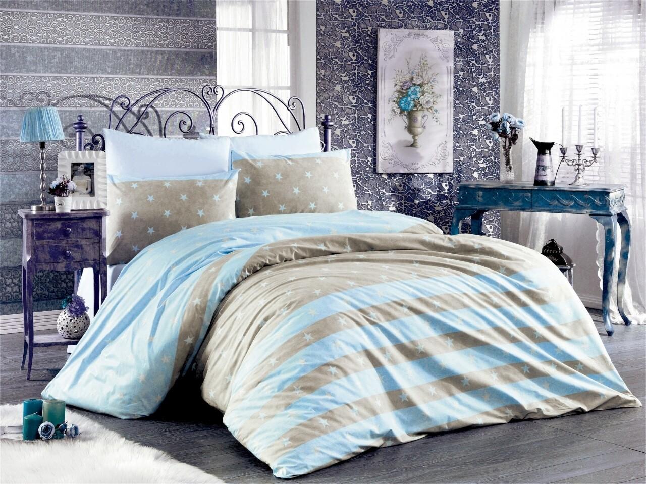 Lenjerie de pat pentru doua persoane, Jeunesse Bleu Bedora, 100%  bumbac, 6 piese