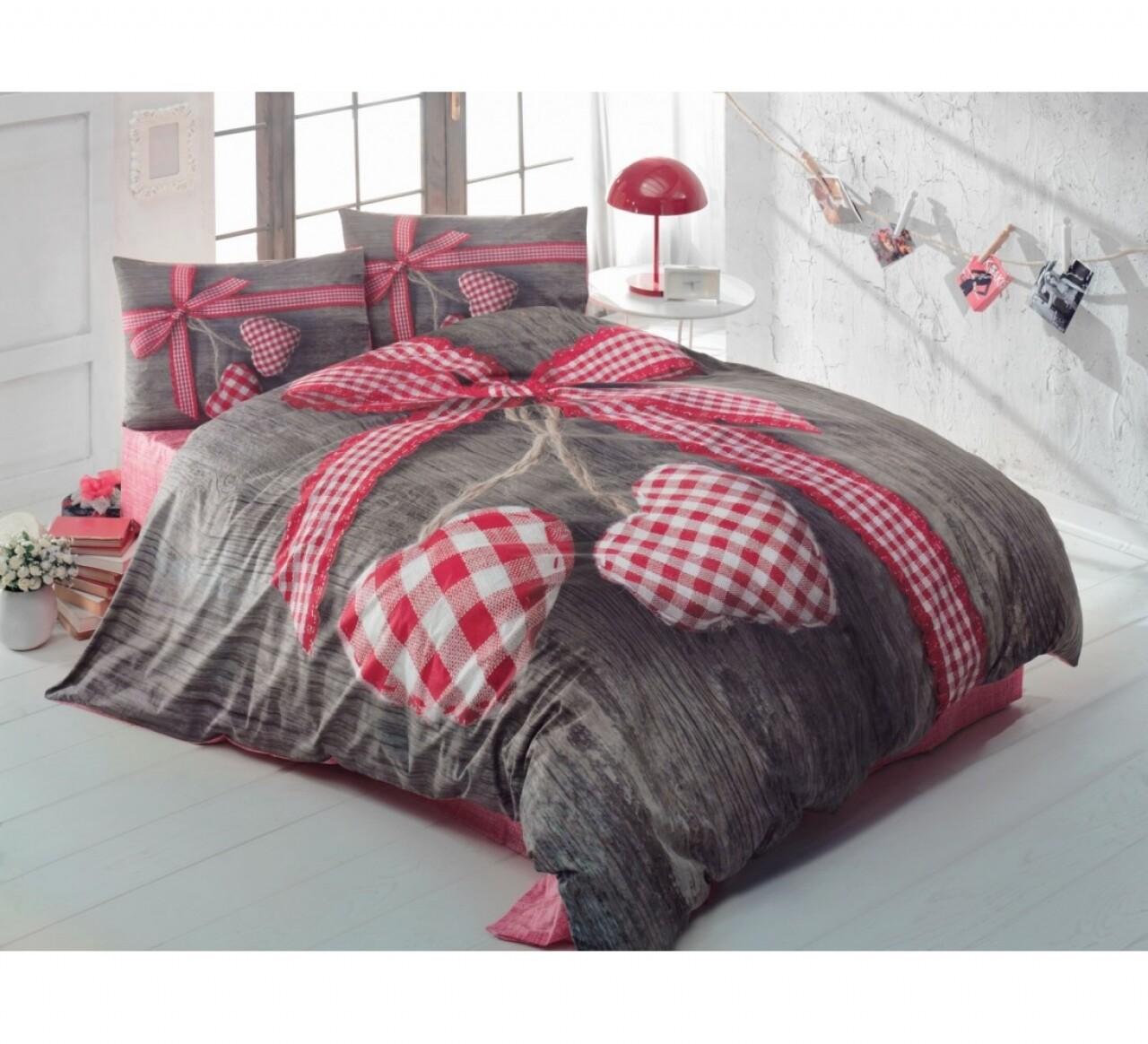 Lenjerie de pat pentru doua persoane Cotton Box, Bumbac Ranforce, 4 piese, Lovebox - Red
