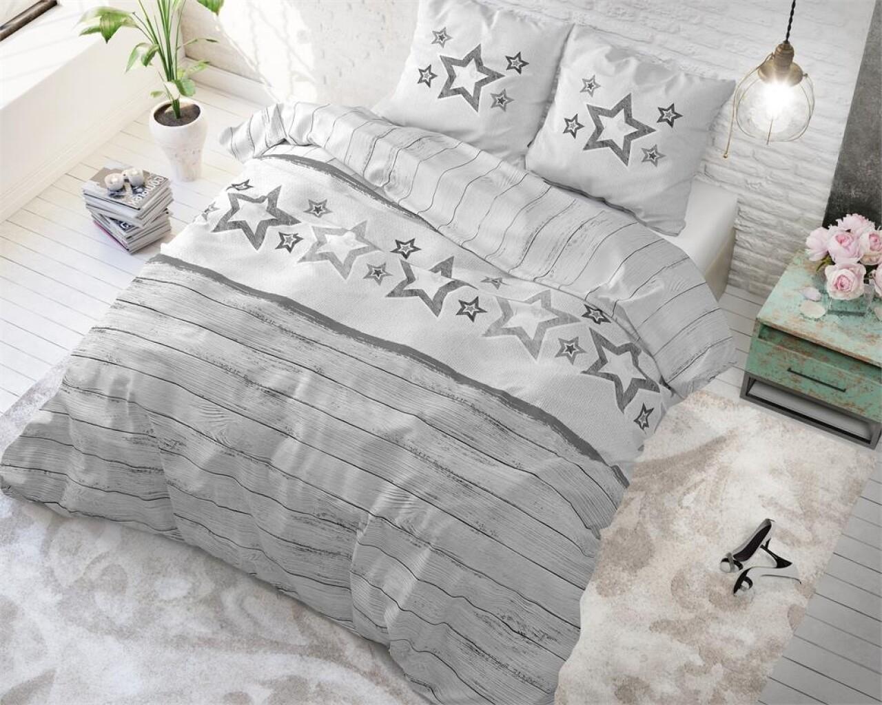 Lenjerie de pat pentru doua persoane Stars and Stars Grey, Sleeptime, Cotton Blended