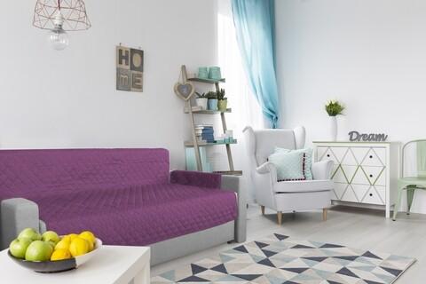 Husa matlasata cu doua fete Alcam pentru canapea 3 locuri Purple/ Vanila