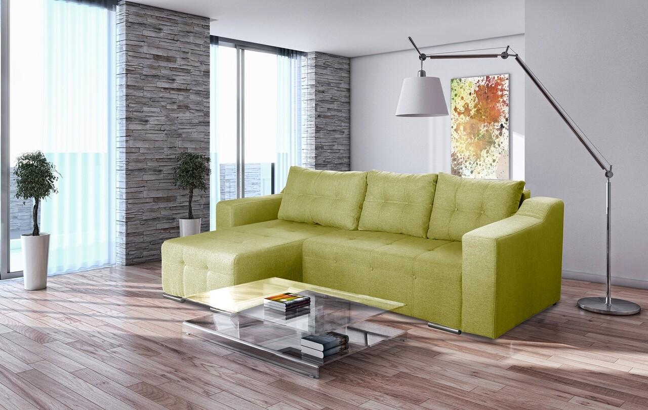 Coltar extensibil Verona Verde 287x169x96 cm cu lada de depozitare, Sezlong stanga