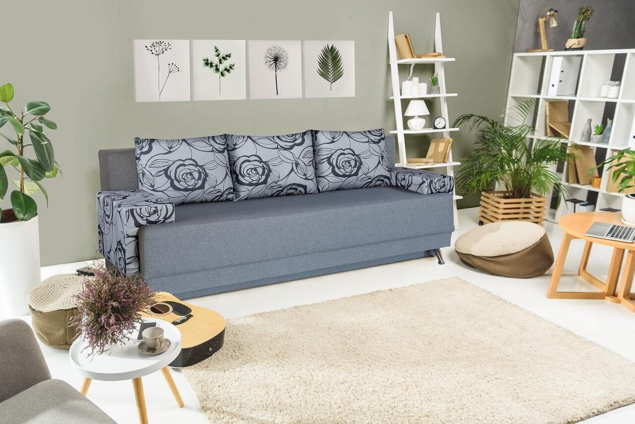 Canapea Extensibila Roma Grey 205x90x86 cm + lada de depozitare, Grey Flower