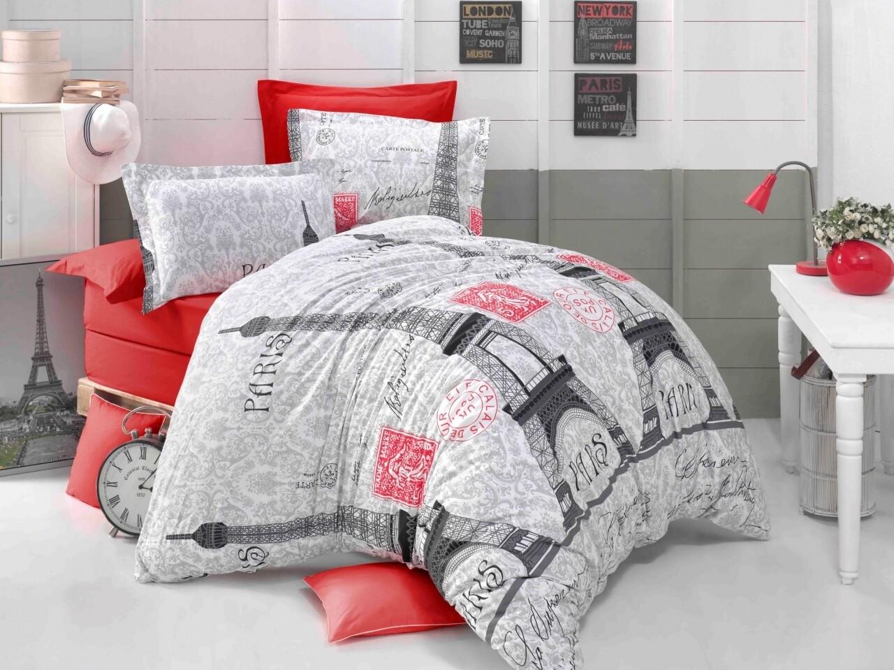 Lenjerie de pat pentru doua persoane, Paris Noir Bedora, 100%  bumbac, 6 piese