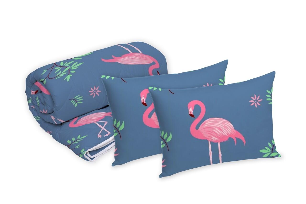 Set Alcam 2 perne microfibra 50x70 cm si pilota matlasata 180x200 cm, Pink Flamingo