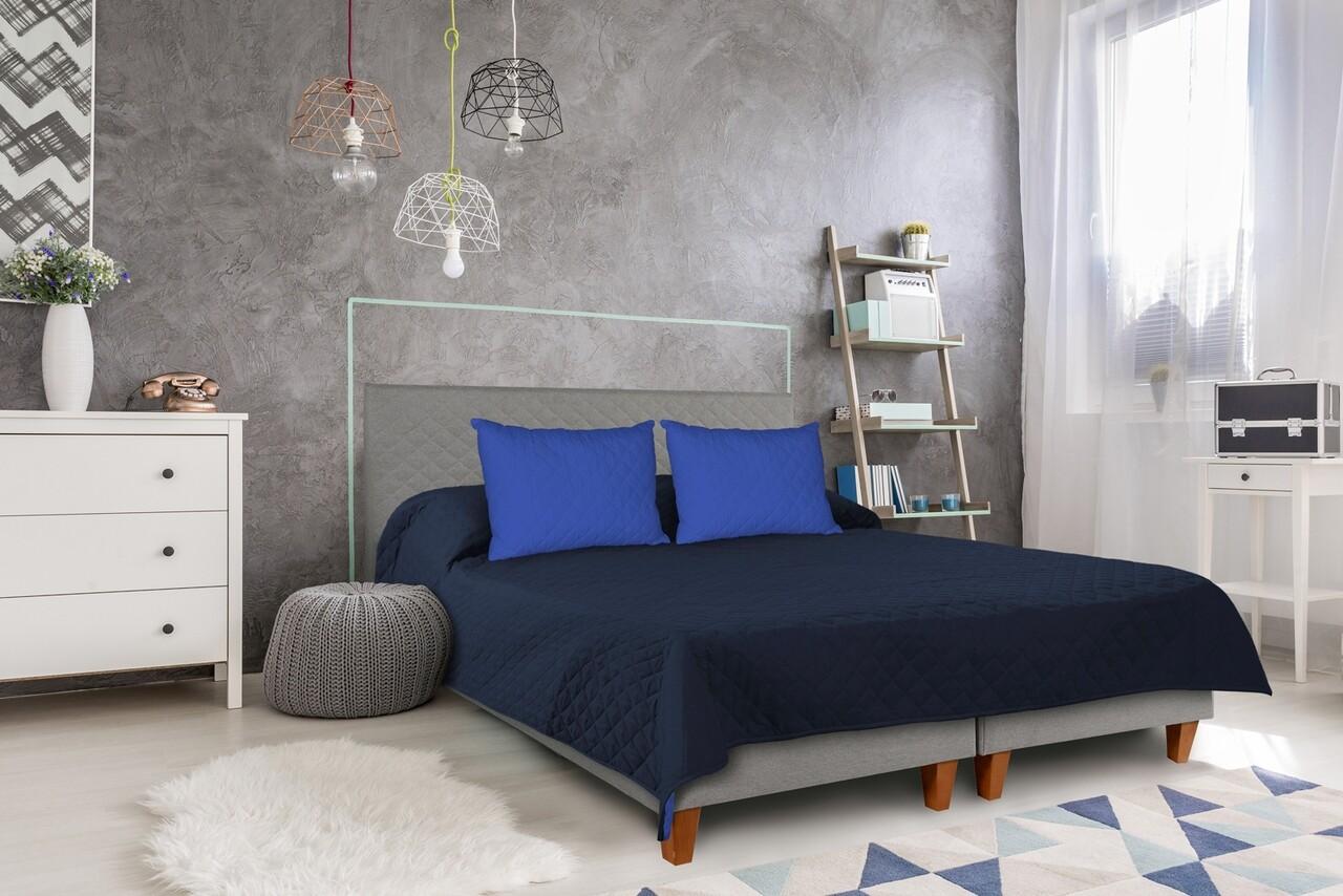Cuvertura matlasata cu 2 fete Alcam, 210 x 220 cm, Bleumarin/Albastru