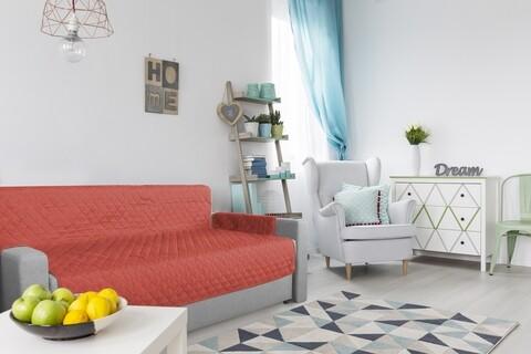 Husa matlasata cu doua fete Alcam pentru canapea 3 locuri Corai/ Vanila