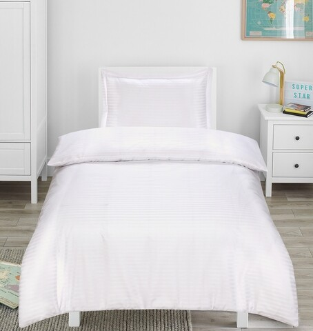 Lenjerie de pat, 1 persoana, Hotel Line, Bedora, 250 TC, amestec bumbac, alb