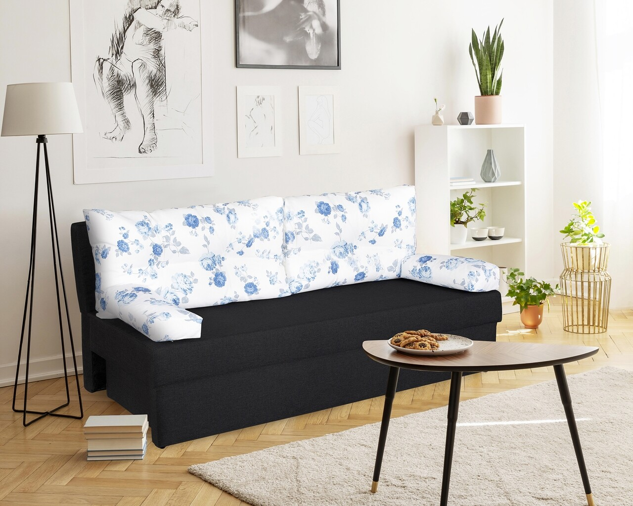 Canapea extensibila Alfi Anthracite 192x80x77 cm cu lada de depozitare, Blue Anemone