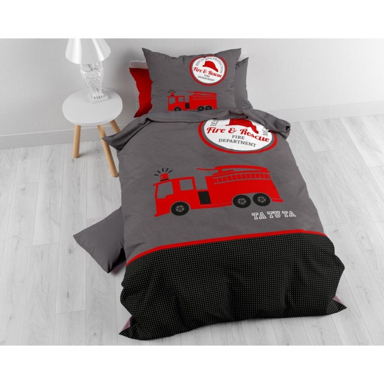Lenjerie de pat pentru o persoana, Pure Fireman Tatu Red, Sleeptime, 2 piese, 100% bumbac